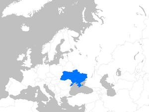 English: Location map of Ukraine within Europe