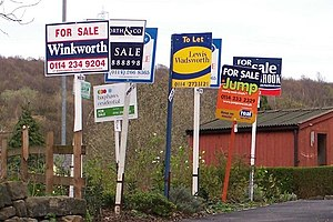 English: Forest of For Sale Signs in Oughtibri...