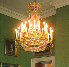Early 19th Century French Cut Glass And Ormolu Chandelier In The Green Room Of White House