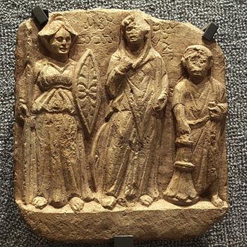 Bas-relief: Nemesis, Allāt and the dedicator. ...