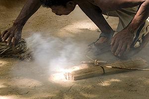 Starting fire the tradional way. Batek tribe o...