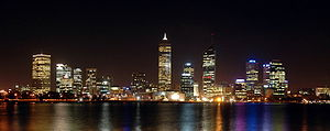 Perth Western Australia at night.