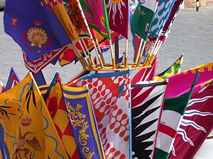 Banners of the Contrade sold before the beginn...