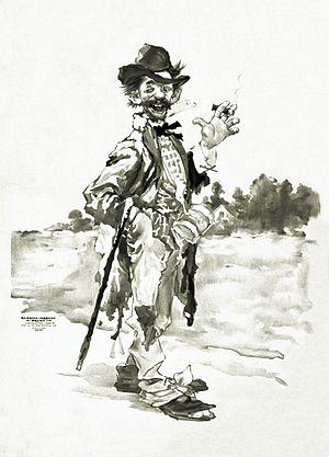 Russel-Morgan Print of a Tramp smoking cigar w...