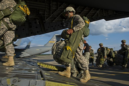 U.S. Soldiers with the 2nd Brigade Combat Team, 82nd Airborne Division board an Air Force C-17 Globemaster III aircraft for a mission during Joint Operational Access Exercise (JOAX) 12-2 June 5, 2012, at Fort 120605-F-SI788-0319