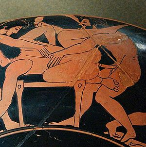 English: Erotic scene. Rim of an Attic red-fig...
