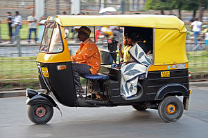 An auto rickshaw in Bangalore, India
