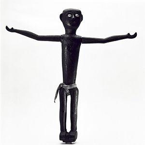 Black, wooden ancestor figure