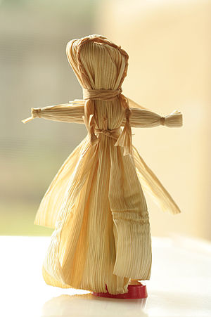 A corn husk doll my son made (with lots of hel...