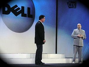 A Dr. Evil impersonator stands with Michael De...