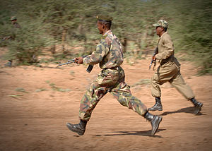 Ethiopian soldiers in a simulated ambush