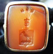 Polish signet ring in light-orange Carnelian