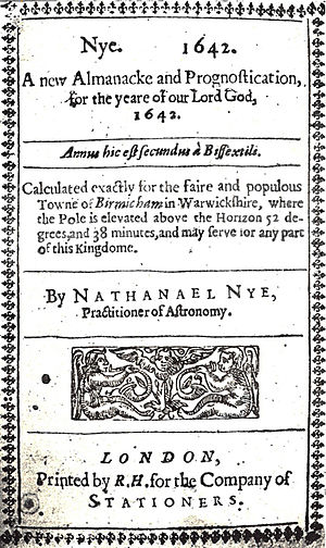 English: Frontispiece of A new Almanacke and P...