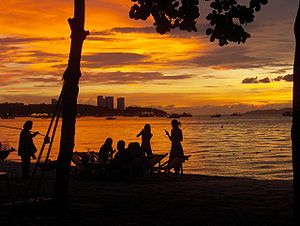Pattaya Beach at sunset.