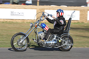 peter fonda rides a replica of the quot captain america quot bike used in