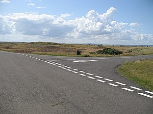 English: Road junction, Barry Links Part of th...