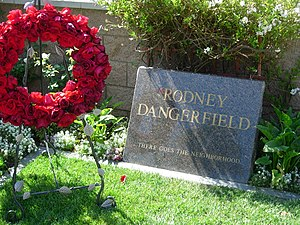 Rodney Dangerfield's tombstone at Pierce Broth...