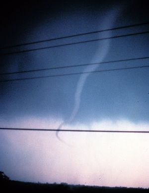 A rope tornado in its dissipating stage, Tecum...