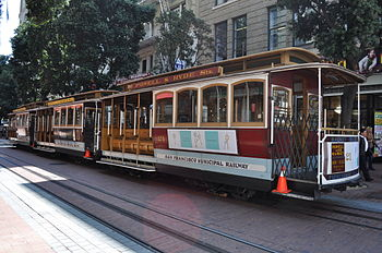 English: Cable cars lined up on Powell Street ...