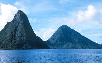 The Pitons from offshore, St. Lucia