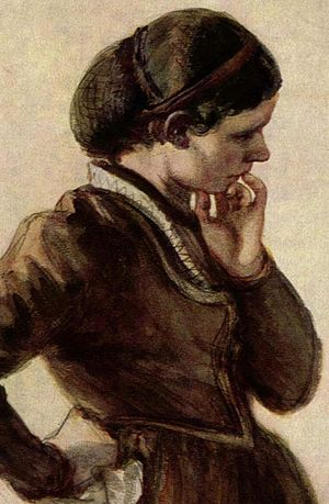 19th Century painting of a woman wearing a sno...