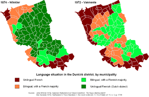 Flemish (green) and French (red/brown) as spok...