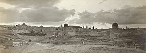 View of Jerusalem from southeast, showing city...