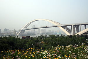 English: View of Shanghai's Lupu Bridge, taken...