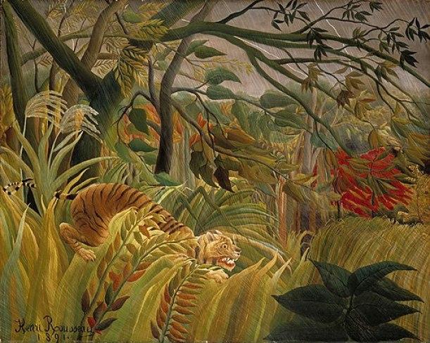 """""""Tiger in a Tropical Storm"""" by Henri Rousseau"""
