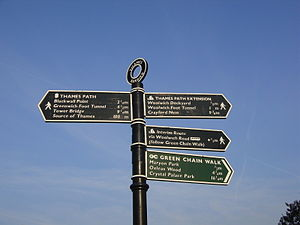 The sign at the end of the Thames Path by the ...