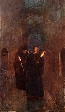 Procession in the catacombs