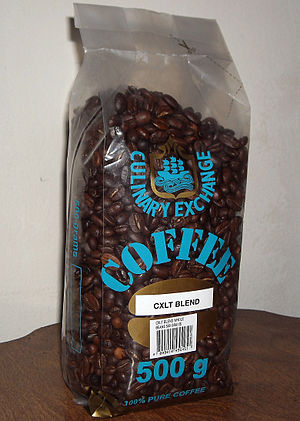 English: A 500 gram bag of coffee beans purcha...