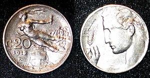 20 centesimi of Italian lira, 1912