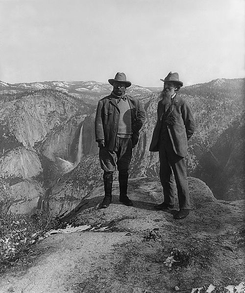 Teddy Roosevelt and John Muir on Glacier Point in Yosemite.