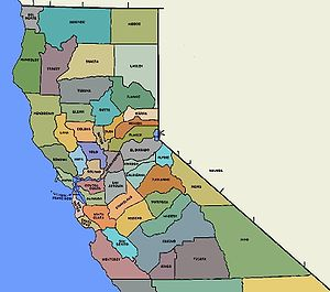 Map of the Counties of Northern California