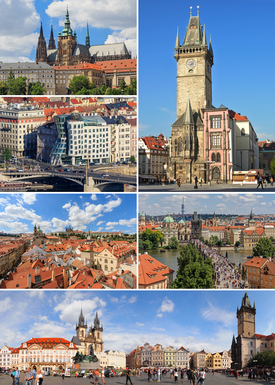 Prague   Wikipedia Montage of Prague  clockwise from top  Old Town Hall  Charles Bridge  Old