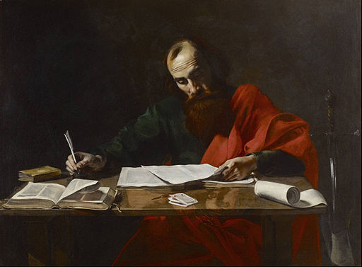 Probably Valentin de Boulogne - Saint Paul Writing His Epistles - Google Art Project