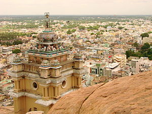 View of Tiruchirappalli, India, from the Rock ...