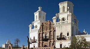 Mission San Xavier del Bac Exterior panoramic ...