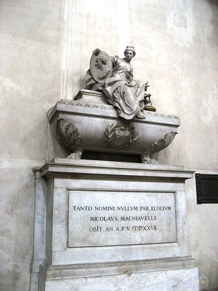 Machiavellis symbolic tomb at the Basilica of Santa Croce, Florence