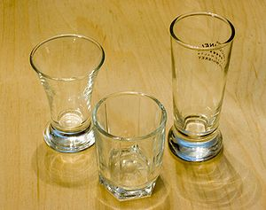 A trio of three typical shot glasses