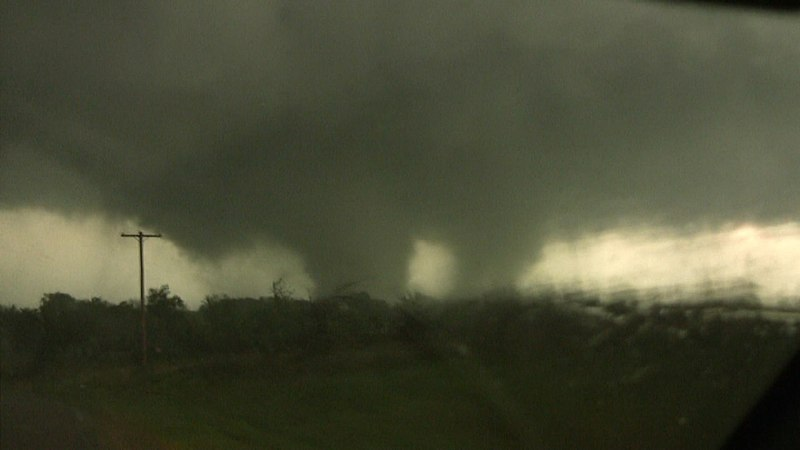 A picture of the Tushka, Oklahoma tornado, an EF3 which struck the town on April 14, 2011 during the Mid-April 2011 tornado outbreak.