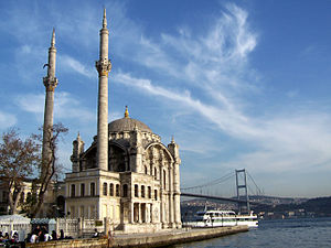 Ortaköy Mosque, along the Bosphorus, in Istanb...