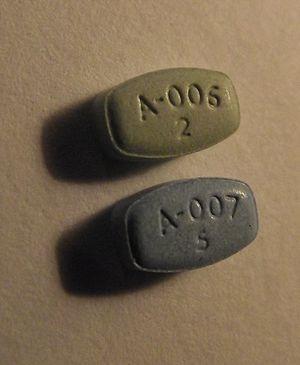English: aripiprazole (Abilify) 2 mg and 5 mg