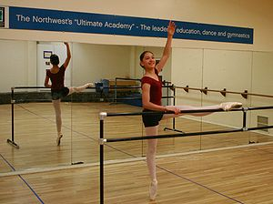 A ballet dancer doing barre work.