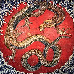 Dragão Japonês (Gravura de Hokusai)