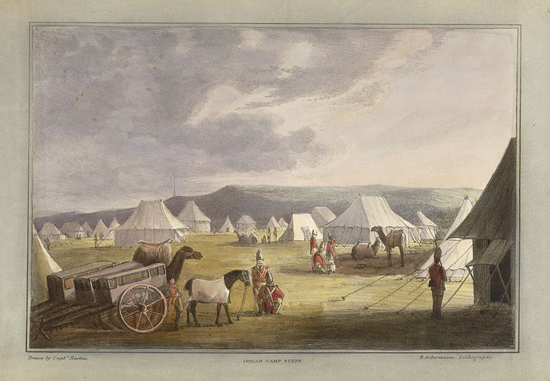 The British military camp in India (1820).