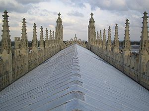 Elaborate parapets flank the gable of King's C...