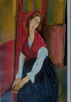 """Jeanne Hebuterne in red shawl"", pai..."