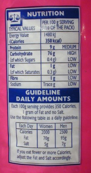 The nutritional information label on a pack of...